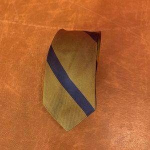 Other - Vintage 1960 olive/navy striped silk skinny tie